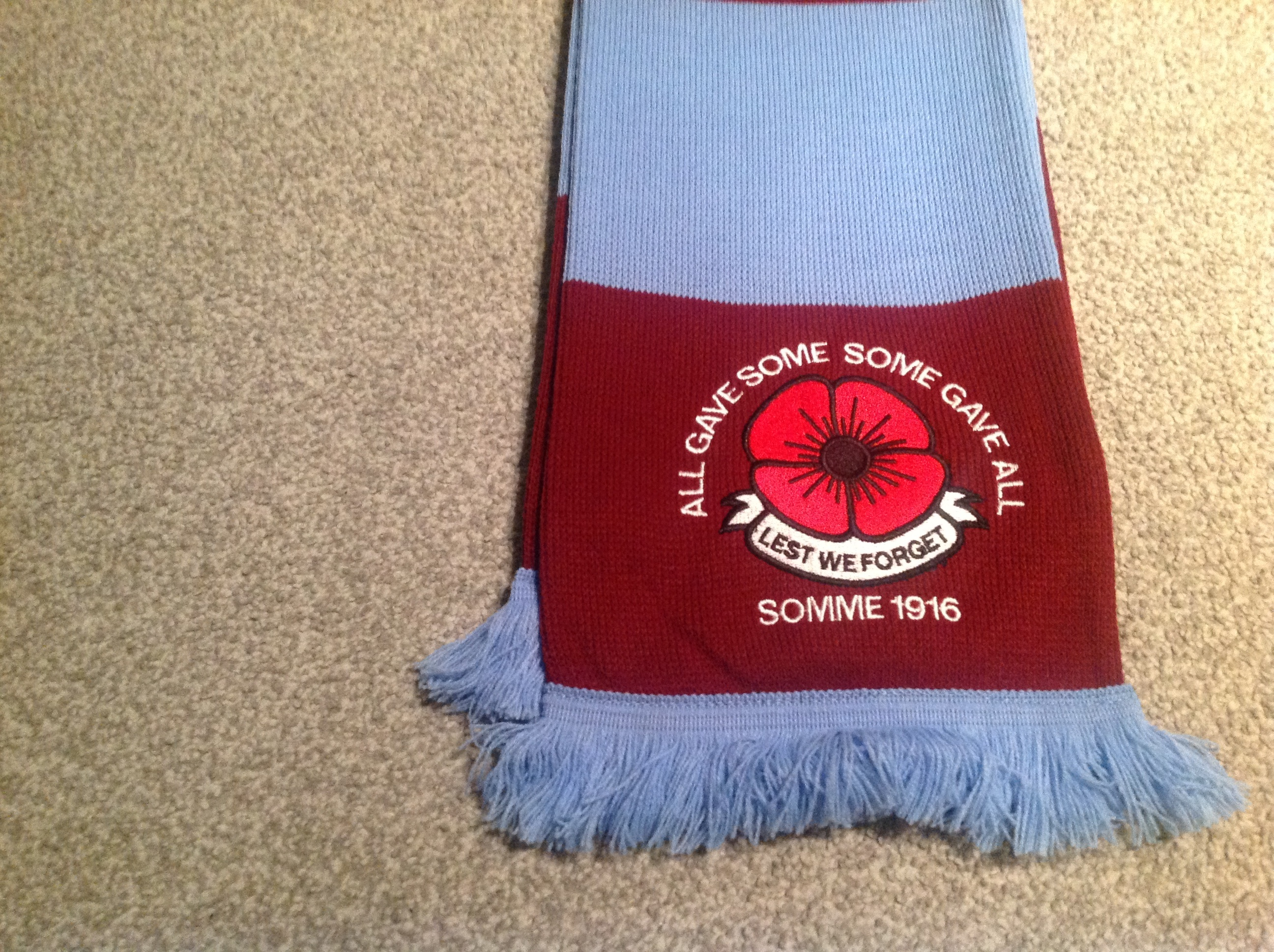 west ham united embroidered poppy scarf the flagman
